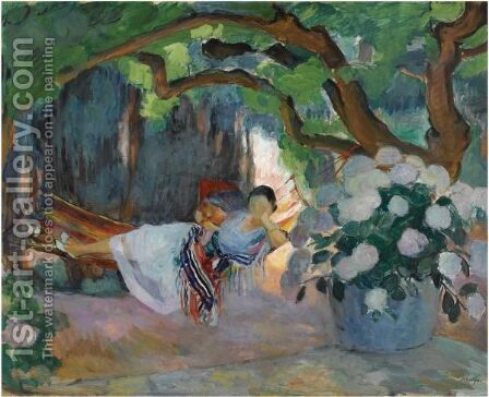 Le Pradet, Jeune Femme Au Hamac by Henri Lebasque - Reproduction Oil Painting