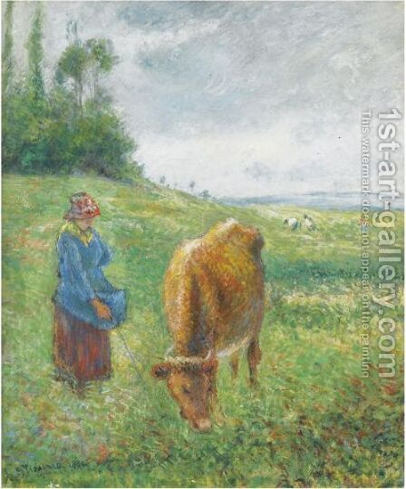 Gardeuse De Vache, Cote Des Grouettes, Pontoise by Camille Pissarro - Reproduction Oil Painting