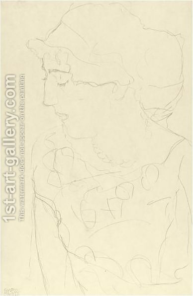 Female Bust In Profile Or Woman With Blouse by Gustav Klimt - Reproduction Oil Painting