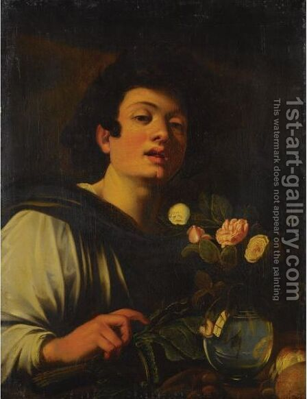 Boy With A Vase Of Flowers by (after) Michelangelo Merisi Da Caravaggio - Reproduction Oil Painting