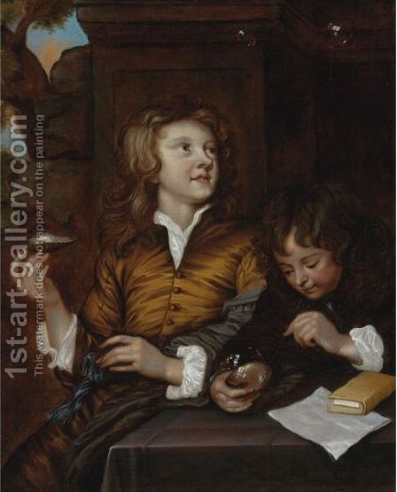 Boys Blowing Bubbles by (after) Adriaen Hanneman - Reproduction Oil Painting