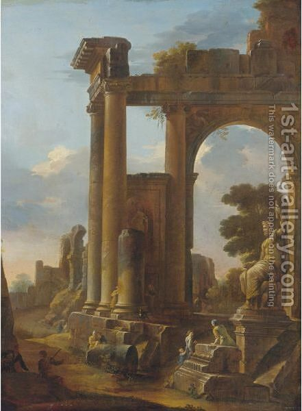 Classical Ruins With Figures by Domenico Roberti - Reproduction Oil Painting
