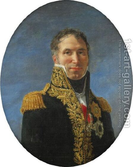 Portrait Of General Claude Carra De Saint-Cyr (1756-1834) by (after) David, Jacques Louis - Reproduction Oil Painting