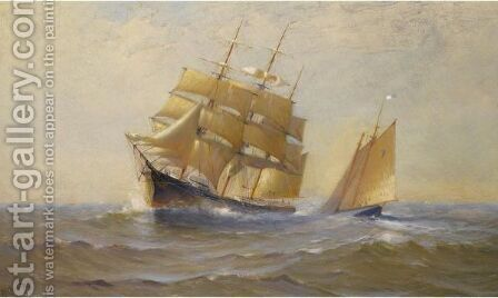 Clipper Ship And Sailboat by Marshall Johnson - Reproduction Oil Painting