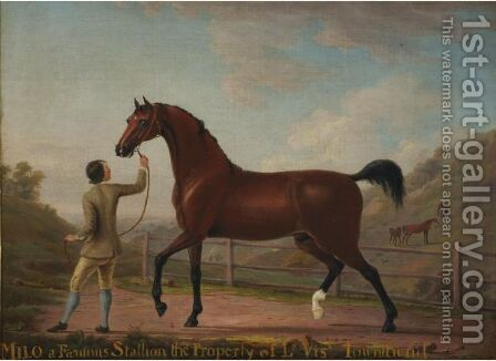 Milo, A Famous Stallion The Property Of Viscount Townsend by (after) Richard Roper - Reproduction Oil Painting