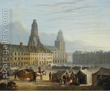 Market In The Hague by Bartholomeus Johannes Van Hove - Reproduction Oil Painting