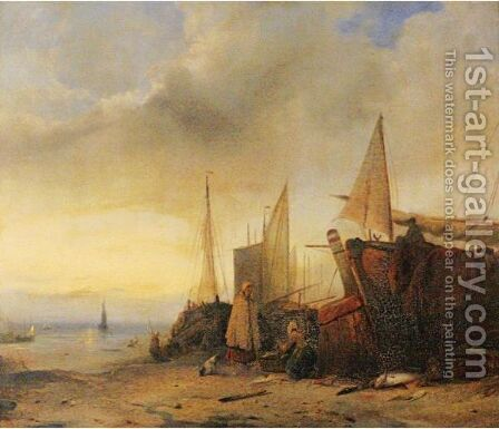 Ships At Low Tide by Jacobus Jacobs - Reproduction Oil Painting