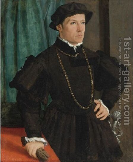 Portrait Of Hans Jakob Fugger, Three-Quarter Length, Before A Green Drape by Christoph Amberger - Reproduction Oil Painting