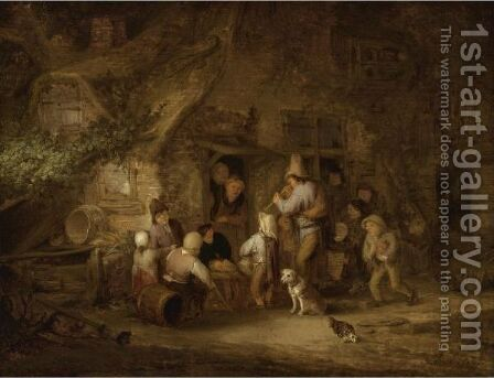 A Man Playing The Shawm At A Rustic Cottage Door by Adriaen Jansz. Van Ostade - Reproduction Oil Painting