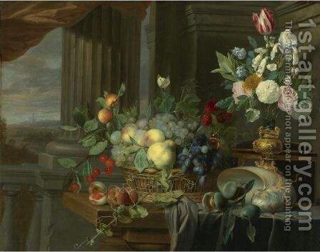 Still Life Of A Basket Of Fruit, Flowers In A Gilt Vase, A Nautilus Shell And Other Objects On A Draped Table Near An Open Window by Carstian Luyckx - Reproduction Oil Painting