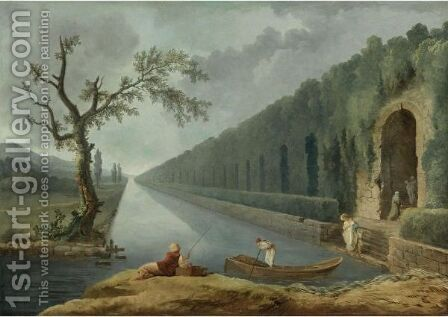 Garden Scene With A Canal by Hubert Robert - Reproduction Oil Painting
