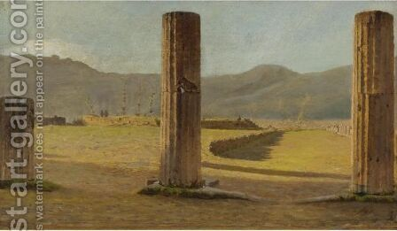 A View From Pompeii by Giuseppe de Nittis - Reproduction Oil Painting