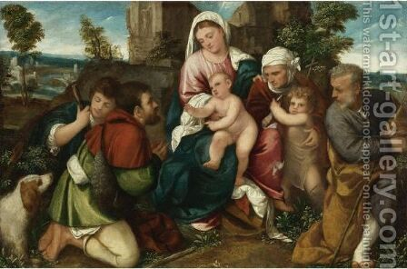 Holy Family With Saint Elizabeth, The Infant St. John, And Two Shepherds by Bonifazio Veronese - Reproduction Oil Painting
