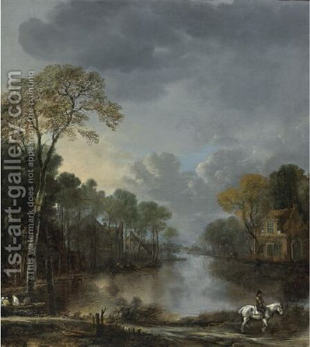 Scene At Dusk With A Horseman Pulling A Boat Along A Canal by Aert van der Neer - Reproduction Oil Painting