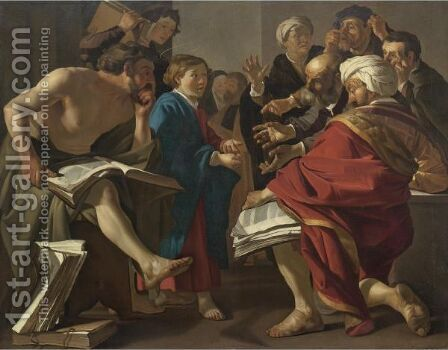 Christ Among The Doctors by Dirck Van Baburen - Reproduction Oil Painting