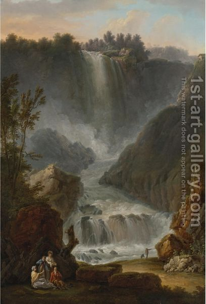 View Of The Cascade Del Marmore Near Terni by Claude Louis Chatelet - Reproduction Oil Painting