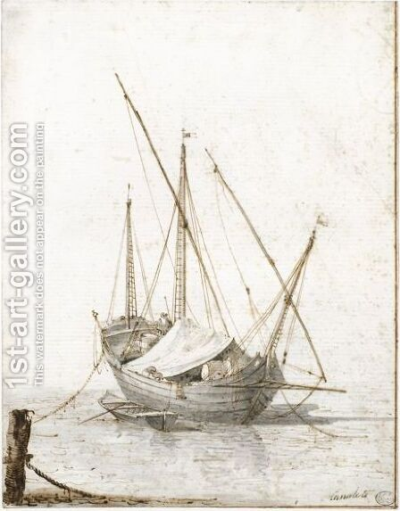 Study Of A Merchant Vessel by (Giovanni Antonio Canal) Canaletto - Reproduction Oil Painting