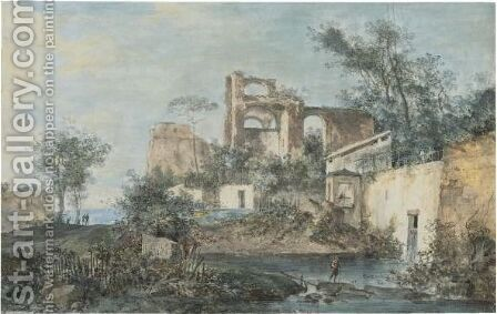 An Italianate Landscape With Ruins, A Traveller By A Pool Of Water In The Foreground by (after) Louis-Gabriel Moreau (Moreau L'aine) - Reproduction Oil Painting