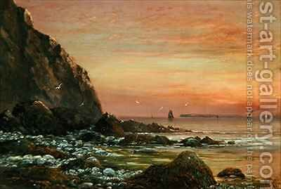 Seascape with Cliff at Sunset by J. H. Blunt - Reproduction Oil Painting