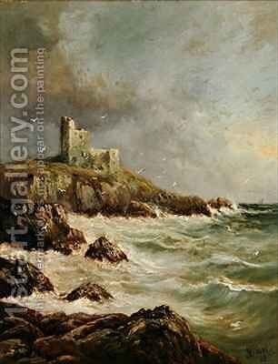 Ruined Castle on Rocky Shore by J. H. Blunt - Reproduction Oil Painting