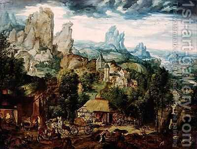 Landscape with Forge 3 by Herri met de Bles - Reproduction Oil Painting