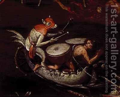The Inferno, detail of fantastical animals playing the drums on a boat by Herri met de Bles - Reproduction Oil Painting