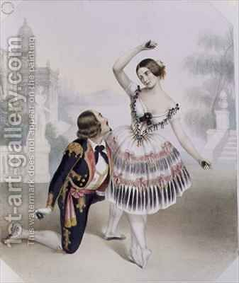 Fanny Cerrito (1817-1909) and S. Leon of Her Majesty's Theatre in 'La Manolla' by (after) Blanc, Numa - Reproduction Oil Painting