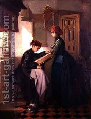 Hindeloopen Girls in an Interior by Christoffel Bisschop - Reproduction Oil Painting