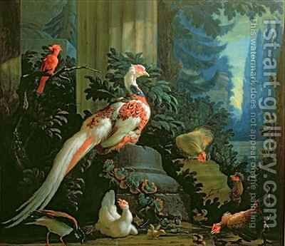 A White Pheasant, a Red Cardinal and Fowl in a Landscape by Abraham Bisschop - Reproduction Oil Painting