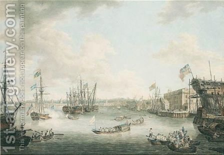 The Royal Visit To Deptford by (after) William Woollett - Reproduction Oil Painting