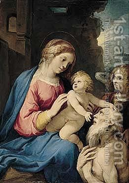 The Madonna And Child With Saint Jerome And An Attendant Angel by Giuseppe (d'Arpino) Cesari (Cavaliere) - Reproduction Oil Painting