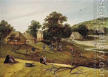 A Landscape With Villagers Playing Ketspel And Picking Apples Before A Hamlet by Jacob Grimmer - Reproduction Oil Painting