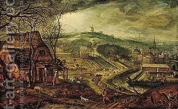 The Season Of Spring A Panoramic Landscape With Winter Yielding To Summer by Jacob I Savery - Reproduction Oil Painting