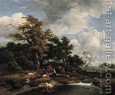 A Wooded Landscape With A Shepherd And Shepherdess Resting With Their Flock By A River by Jacob Van Ruisdael - Reproduction Oil Painting
