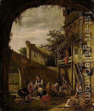 A Courtyard Scene With Peasants Slaughtering A Pig by Jan Havicksz. Steen - Reproduction Oil Painting