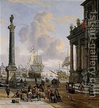 A Mediterranean Harbour Scene With Turbanned Figures On A Quay by Abraham Storck - Reproduction Oil Painting