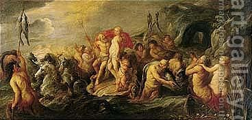 The Triumph Of Neptune And Amphitrite 3 by (after) Frans II Francken - Reproduction Oil Painting