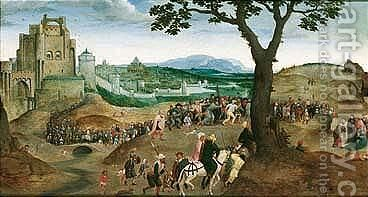 Landscape with the procession to Calvary by (after) Joachim Patenier (Patinir) - Reproduction Oil Painting