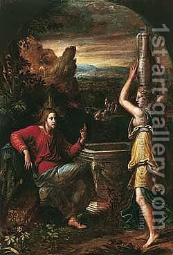 Christ And The Woman Of Samaria by Girolamo da Carpi - Reproduction Oil Painting