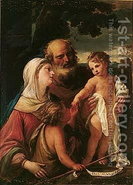 The Holy Family With The Infant Saint John The Baptist by Girolamo Troppa - Reproduction Oil Painting