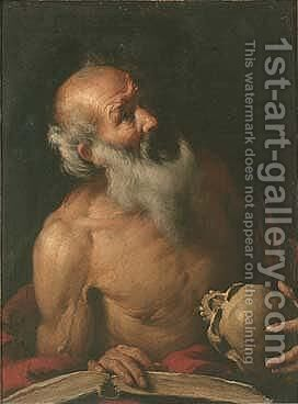 Saint Jerome, Holding A Skull And An Open Book by Bernardo Strozzi - Reproduction Oil Painting