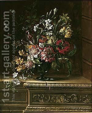Sill life of carnations, chrysanthemums, narcissi, tulips, lilies and other flowers by (after) Jean Picart - Reproduction Oil Painting