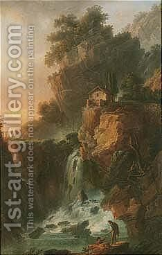 A View Of The Large Cascade At Terni Outside Rome, Near Foligno by Claude Louis Chatelet - Reproduction Oil Painting