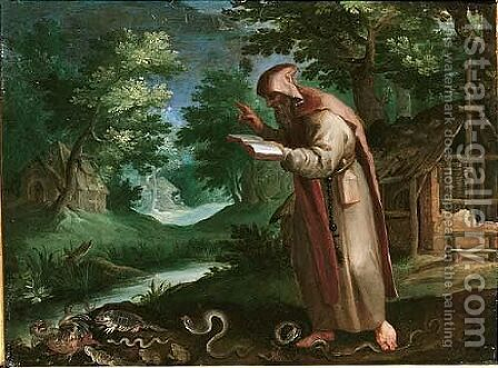 Saint Didymus in a landscape by (after) Maarten De Vos - Reproduction Oil Painting