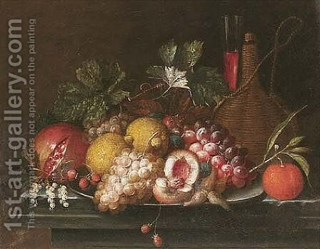 Still Life Of Peaches, Lemons, Grapes, Strawberries And Nuts Upon A Pewter Dish, Together With A Pomegranate, An Orange, A Casket Of Wine And A Wine Glass, Upon A Stone Ledge by Jan Pauwel Gillemans The Elder - Reproduction Oil Painting