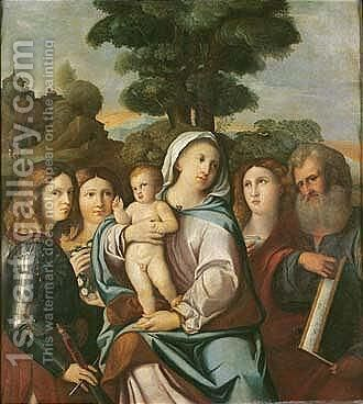 The madonna and child with saints george, dorothea, mary magdalene and mark by (after) Acopo D'Antonio Negretti (see Palma Vecchio) - Reproduction Oil Painting