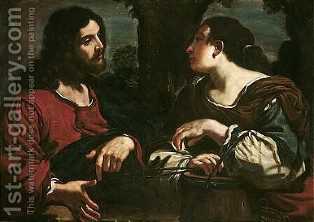 Christ and the woman of Samaria by (after) Giovanni Francesco Guercino (BARBIERI) - Reproduction Oil Painting