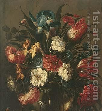 Still life of tulips, roses, an iris and other flowers, in a glass vase by (after) Juan De Arellano - Reproduction Oil Painting