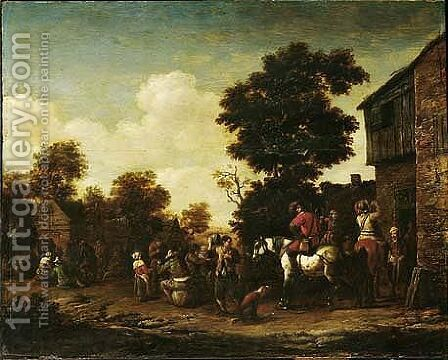 A Horseman And Various Figures Standing Outside A Tavern by Barend Gael or Gaal - Reproduction Oil Painting