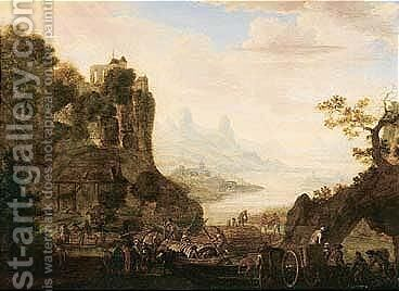 A rhenish landscape with figures loading barges by Herman Saftleven - Reproduction Oil Painting
